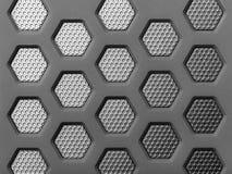 Moderne achtergrond met een metaalzeshoeken Stock Afbeeldingen