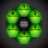 Moderne achtergrond met groene zeshoeken Elke vorm vertegenwoordigt optie of keus Royalty-vrije Stock Foto's