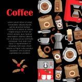 Moderne affiche met koffieachtergrond Royalty-vrije Stock Afbeelding
