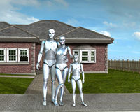 Moderne Android-Robot Familiy en Buurthuis Royalty-vrije Stock Afbeelding