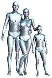 Moderne Android-Robot Geïsoleerde Familiy Stock Afbeeldingen