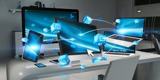 Moderne apparaten bij Desktop het binnenlandse 3D teruggeven Stock Fotografie