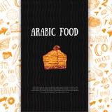 Moderne arabische Nahrungsmittelfahne in der Skizzenart mit Kebab, Dolma, Shakshuka Freihändige Vektorgekritzel lokalisiert auf D lizenzfreie abbildung