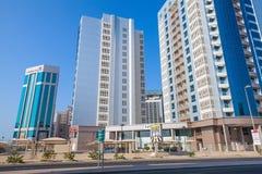 Moderne architectuur, bureaugebouwen van Manama, Bahrein Stock Foto