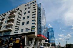 Moderne architectuur in Miskolc - Hongarije stock foto's