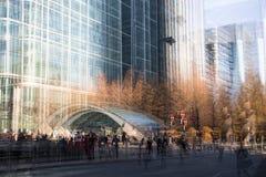 Moderne architectuur van Canary Wharf, Londen Veelvoudig blootstellingsbeeld stock afbeeldingen