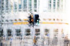 Moderne architectuur van Canary Wharf, Londen Veelvoudig blootstellingsbeeld royalty-vrije stock fotografie