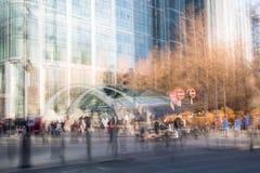 Moderne architectuur van Canary Wharf, Londen Veelvoudig blootstellingsbeeld stock fotografie