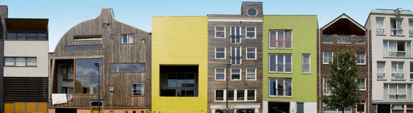 Moderne Architektur auf IJburg, Amsterdam Stockbilder