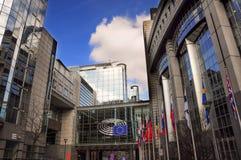Moderne Architektur des Gebäudes des Europäischen Parlaments in Brüssel, Lizenzfreie Stockfotografie