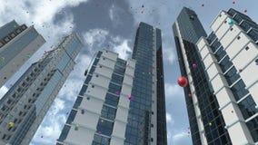 Moderne Architektur mit reflektierender Wiedergabe des Glases 3D Lizenzfreies Stockbild