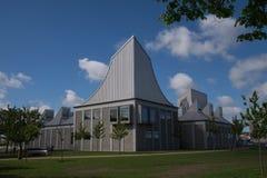 Moderne Architektur: Utzon-Mitte, Aalborg, Dänemark lizenzfreie stockfotos