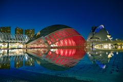 Moderne Architekturgebäude der Stadt von Künsten und von Wissenschaften stockfoto