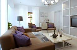 Moderne Art des hellen Wohnzimmers Stockfotografie