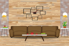 Moderne Art-Innenarchitektur-Vektor-Illustration Sofa vor hölzerner Wand Seitentabellen, Leuchter, Uhr Karikatur-Wohnzimmer wi Stockfotografie