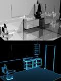 Moderne badkamers (3D xray blauwe transparant) collage Stock Foto's
