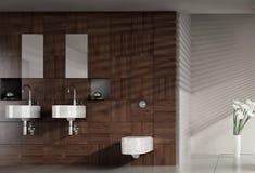 Moderne badkamers met dubbel bassin Royalty-vrije Stock Afbeelding