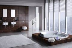 Moderne badkamers met dubbele bassin en Jacuzzi Royalty-vrije Stock Foto's