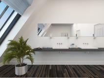 Moderne badkamers met een dubbele ijdelheidseenheid Royalty-vrije Stock Foto