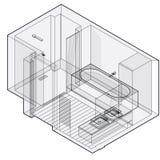 Moderne badkamers met houten vloer, isometrisch perspectief Geschetste douchebijlage vector illustratie