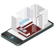 Moderne badkamers met houten vloer in mobiele telefoon Isometrische douchebijlage met glijdende glasdeuren stock illustratie