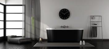 Moderne badkamers met zwarte badkuip Stock Afbeelding