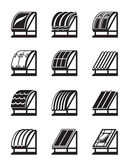 Moderne Baumaterialien für Dächer Lizenzfreie Stockfotografie