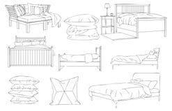 Moderne Bedbank en Hoofdkussen Vectorlijn Art Illustration Stock Foto