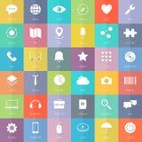 Moderne bedrijfs en technologie vlakke geplaatste pictogrammen Royalty-vrije Stock Foto