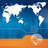 Moderne bedrijfsachtergrond met kaart Royalty-vrije Stock Fotografie