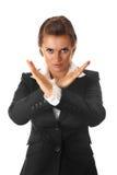 Moderne bedrijfsvrouw met gekruiste wapens Stock Foto's