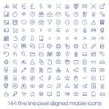 Moderne Benutzerschnittstellenlinie Ikonen, Pixel perfekt Lizenzfreie Stockbilder