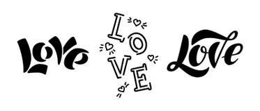 Moderne Beschriftung der Liebe lokalisiert auf weißem Hintergrund stock abbildung