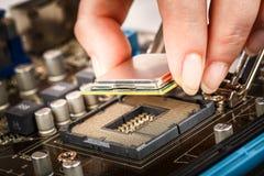 Moderne bewerker en motherboard Royalty-vrije Stock Afbeeldingen