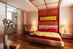 Moderne binnenlandse 3d van de stijlslaapkamer Royalty-vrije Stock Afbeeldingen