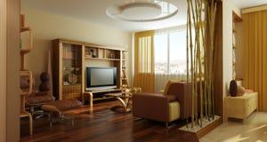 Moderne binnenlandse 3d van de zitkamerruimte Royalty-vrije Stock Foto