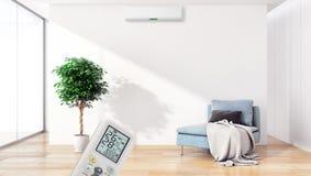 Moderne binnenlandse flat met airconditioning en verre contr royalty-vrije stock afbeeldingen