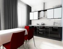 Moderne binnenlandse keuken stock afbeeldingen