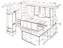Moderne binnenlandse ontwerp uit de vrije hand tekening. Royalty-vrije Stock Fotografie