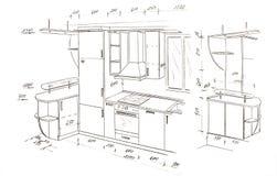 Moderne binnenlandse ontwerp uit de vrije hand tekening. royalty-vrije stock foto