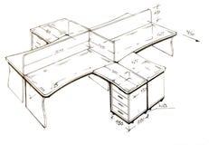 Moderne binnenlandse ontwerp uit de vrije hand tekening. stock afbeeldingen