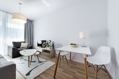 Moderne binnenlandse ontwerpruimte in Skandinavische stijl Stock Afbeeldingen