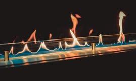 Moderne biofireplotopen haard op ethylalcoholgas stock foto