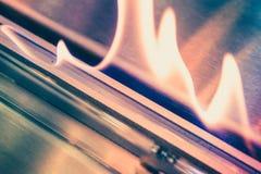 Moderne biofireplotopen haard op ethylalcoholgas stock afbeeldingen