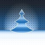 Moderne blaue beschmutzte Karte des FormWeihnachtsbaums stock abbildung