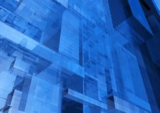 Moderne blaue Glaswand des Bürogebäudes Stockbild