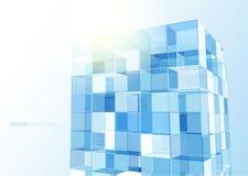 Moderne blaue Glaswand des Bürogebäudes Stockfotografie