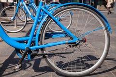 Moderne blaue Stadtfahrräder für Miete Stockfoto