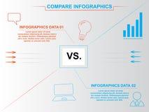 Moderne Blaue und Orange vergleichen infographics stock abbildung