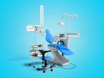 Moderne blaue zahnmedizinische Ausrüstung für zahnmedizinische Behandlung 3d auf b übertragen lizenzfreie abbildung